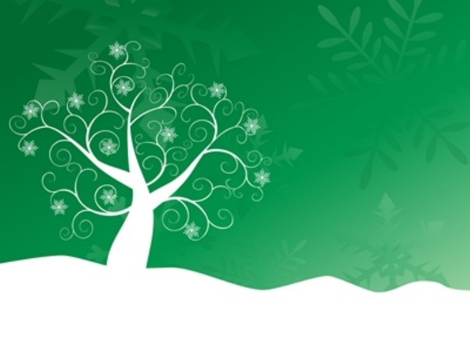 White snowy tree on a green background