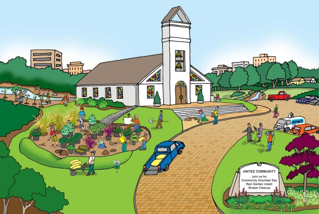 Graphic of a people building a rain garden next to a church.