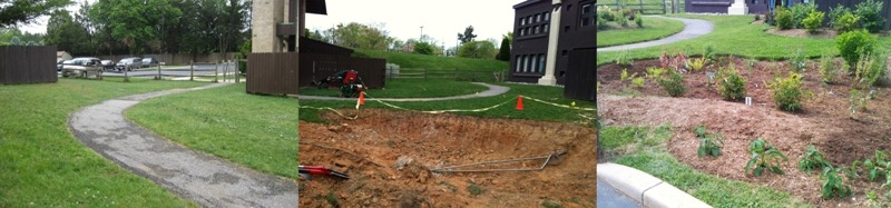 Three images of the St. James rain garden before, during and after construction.