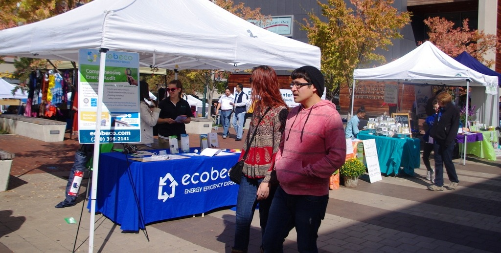 Image of Montgomery County residents enjoying the green market at the Silver Spring GreenFest.