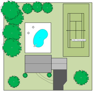 Graphic of a property after backyard development.  Most of the trees were lost.