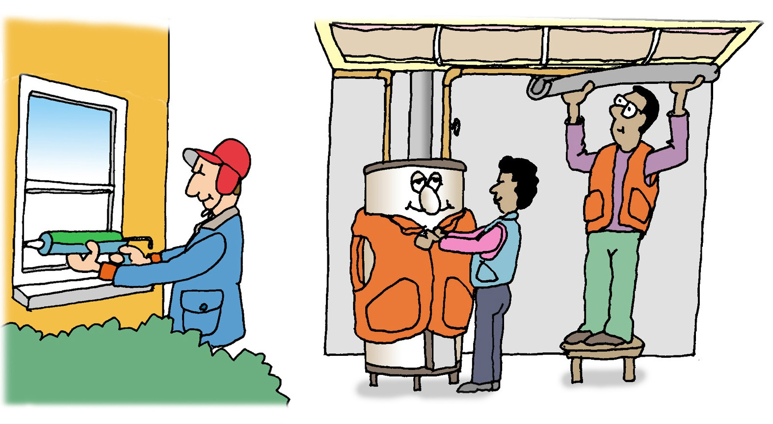 Graphic of someone insulating their windows and wrapping their hot water heater.