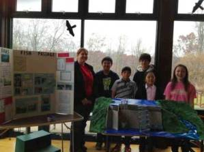 Image of Cabin John Middle School students presenting on their migratory fish and dam research
