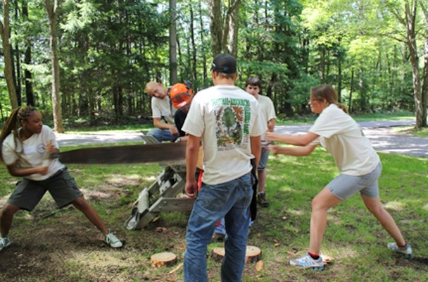 Image of camp participants using a tree ax.