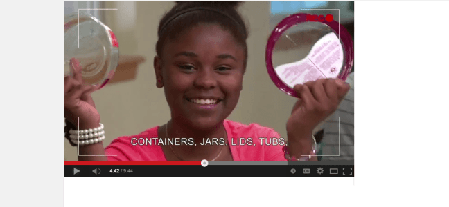 Image of a clip from the recycling at your school video.