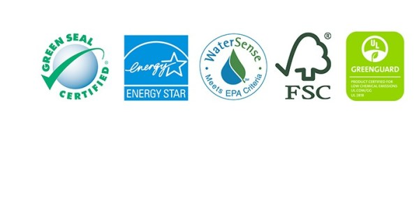 Image of the Green Seal, WaterSense, EnergySTAR, GREENGUARD and Forestry Stewardship Council logos