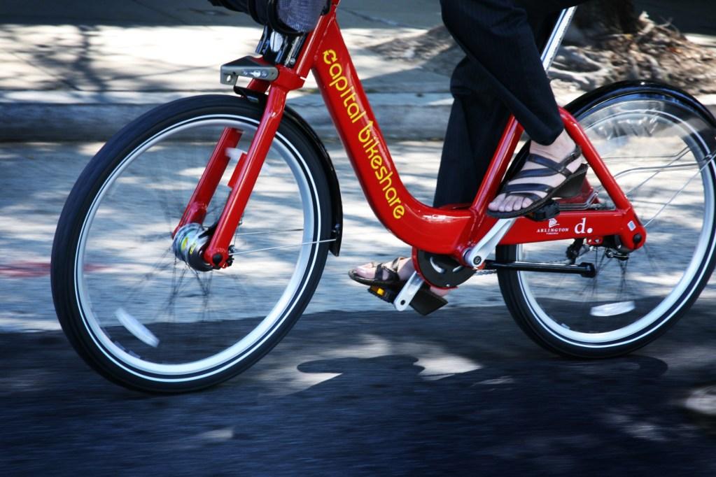 A commuter using Capital Bikeshare. Copyright DDOT DC via Flickr.
