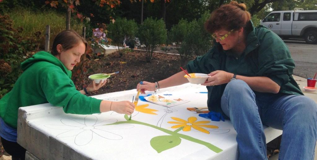 Image of volunteers painting rain garden inlets