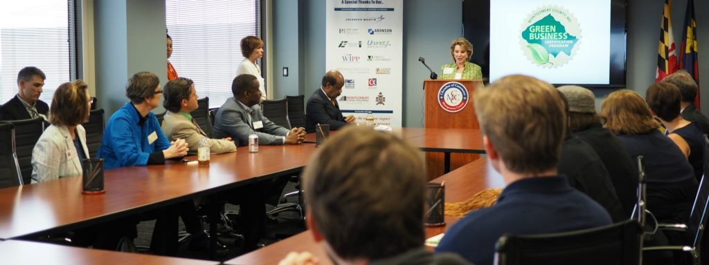 Gigi Godwin of the Montgomery County Chamber of Commerce speaking at a press event.