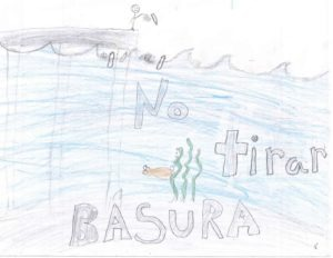 """Drawing of person throwing trash into water with the text """"No tirar basura."""""""