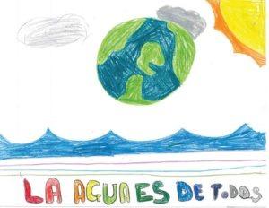 "Drawing of the Earth with the words ""La agua es de todos."""