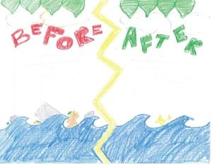 Drawing of a before and after water scene. One side is clean, the other dirty.