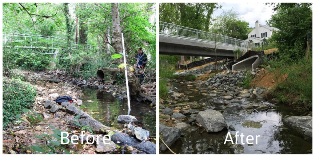 Before and after photos showing the replacement and upgrade of an outfall structure