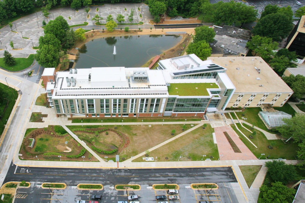 Aerial photo of Rockville Campus' Science Center