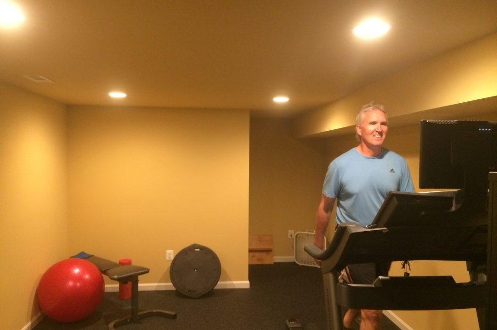 Photo of Sean Boyle on his treadmill