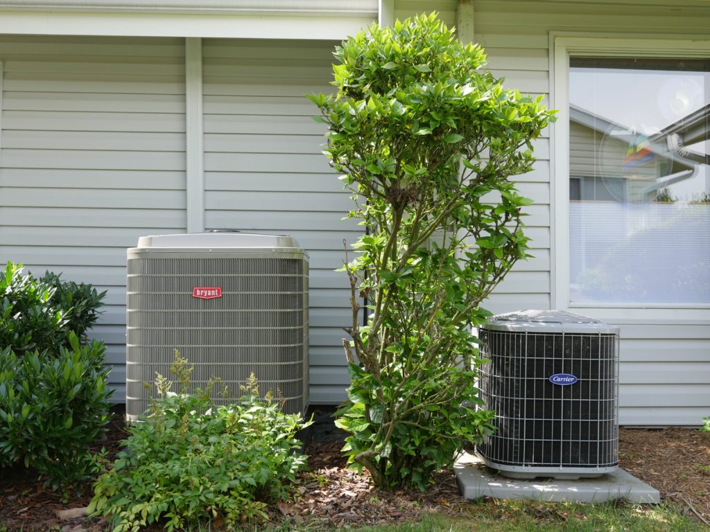 An image of the outdoor unit of the heat pump system