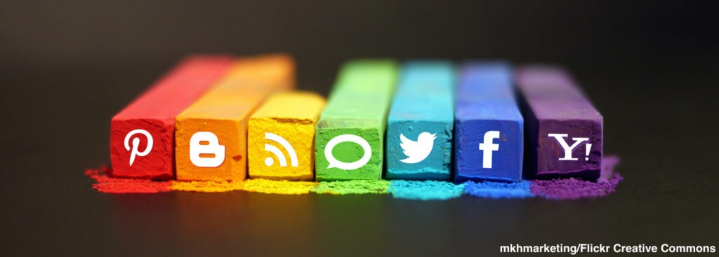 Image of blocks of color with assorted social media icons