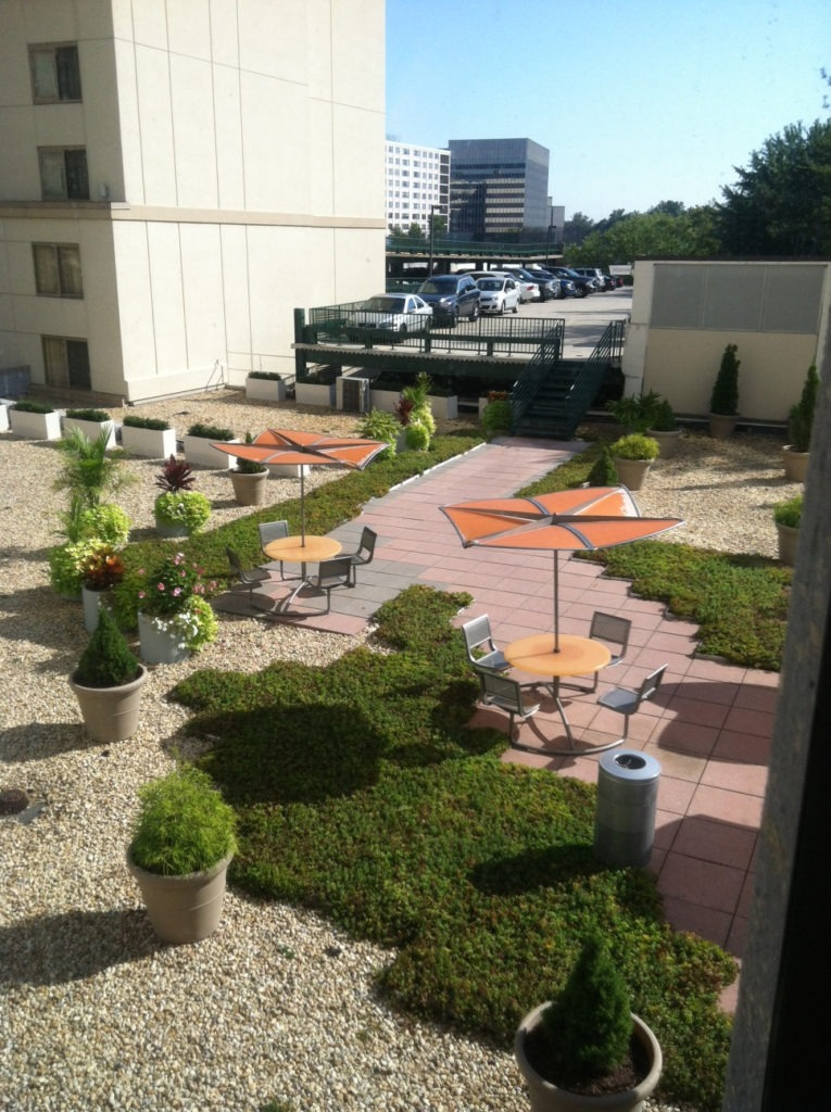 A courtyard between office buildings