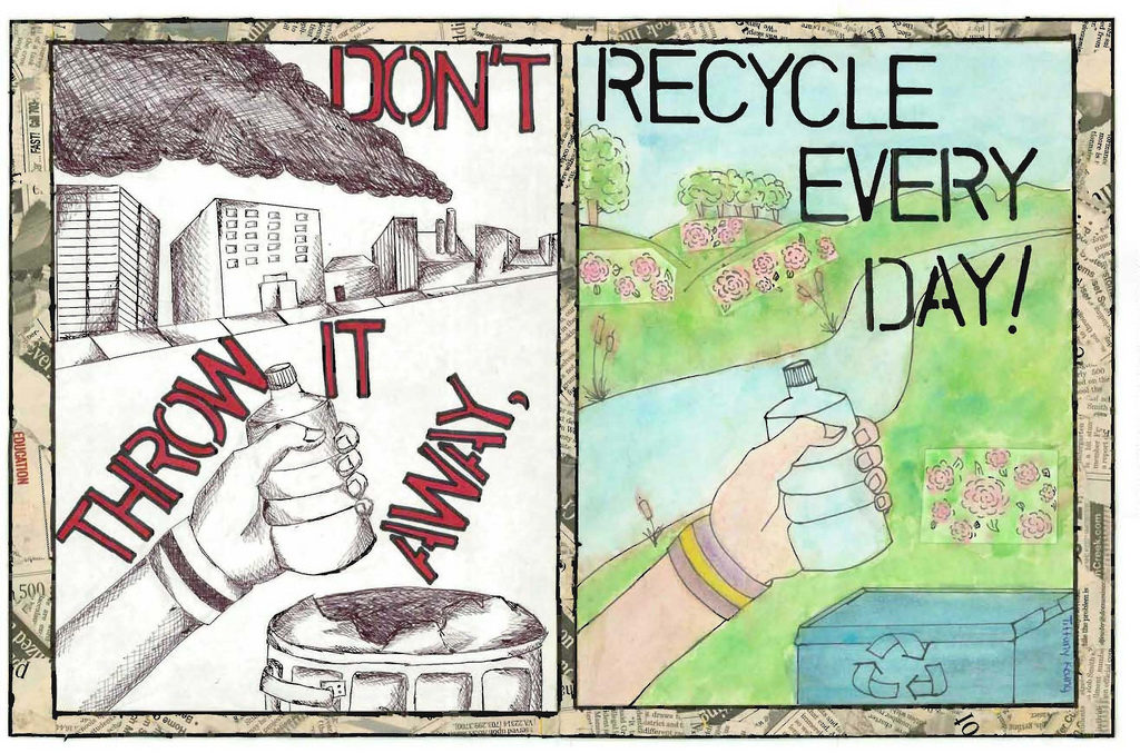 "Two sided graphic with one side of a polluted city saying ""Don't throw it away"" with the other side showing a beautiful nature scene saying ""Recycle every day"""