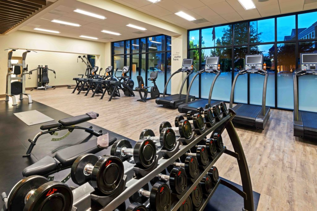 The gym at EVEN Hotel