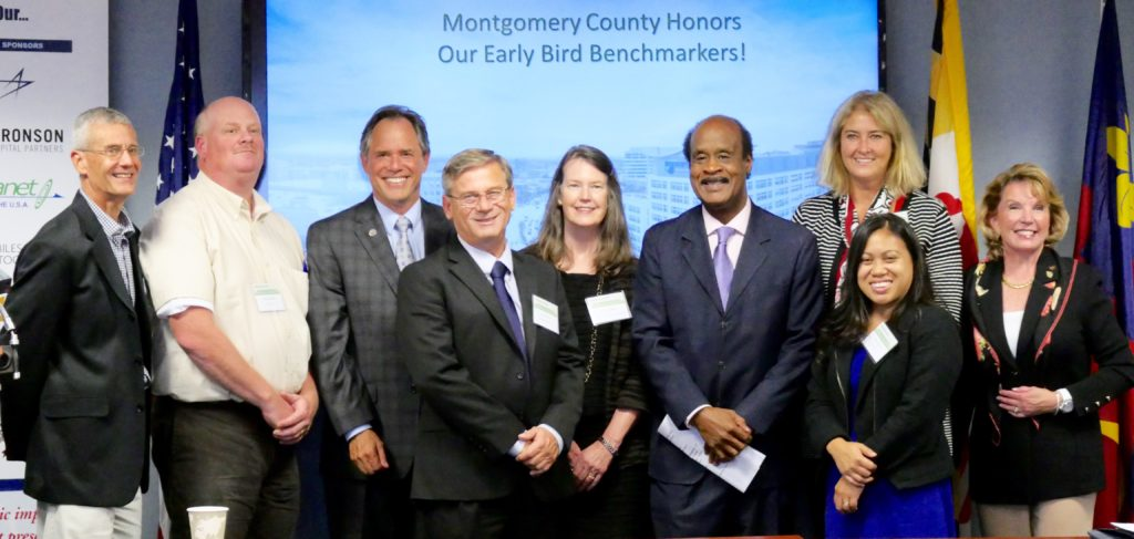 Brookfield management team standing with Couty Executive Ike Leggett
