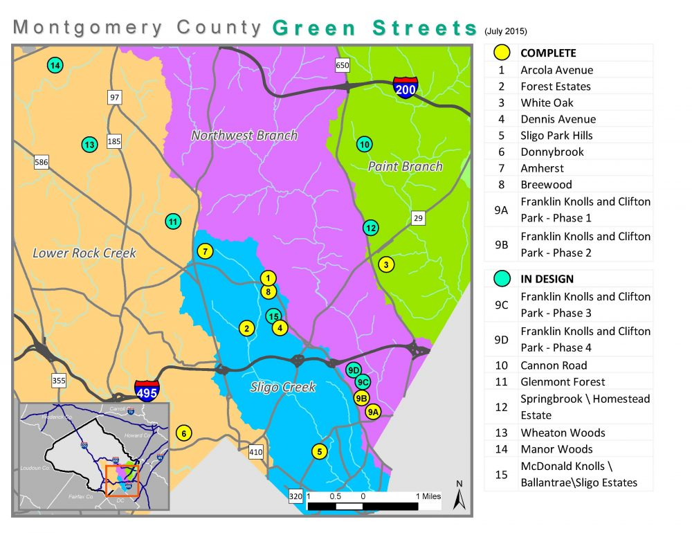 A map of current and future green streets