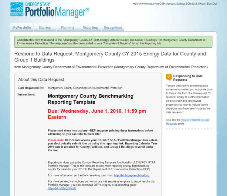 A screenshot of the Portfolio Manager website that shows instructions for filling out the Montgomery County benchmarking template