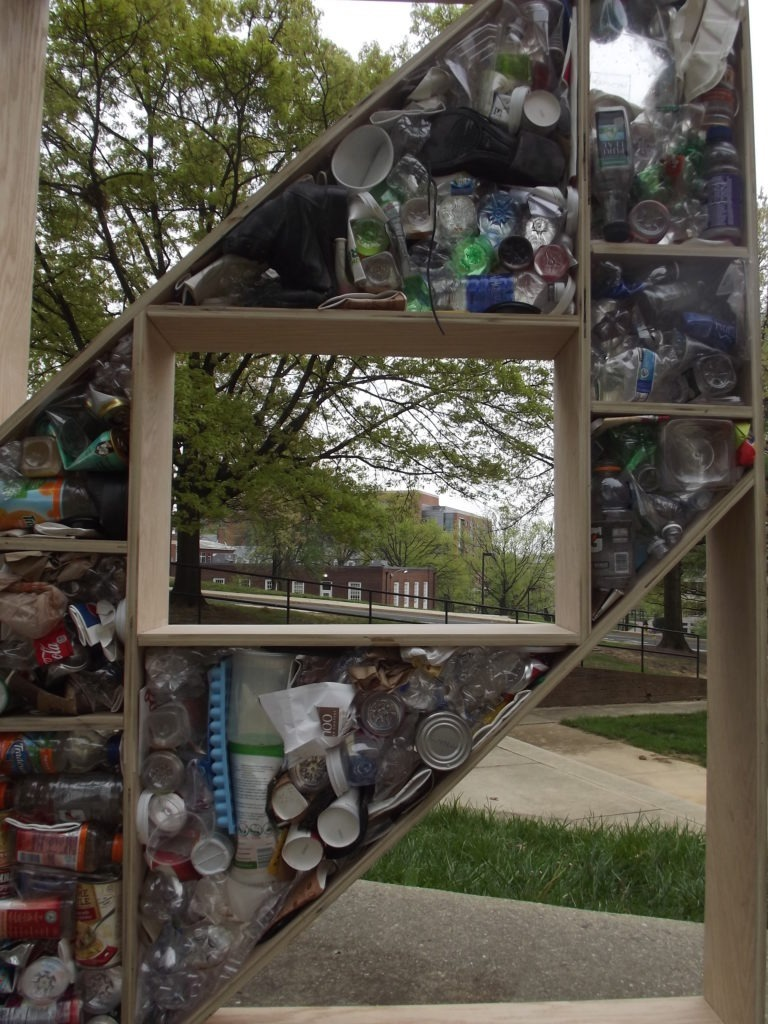 A close up of the recyclables in one of the structures
