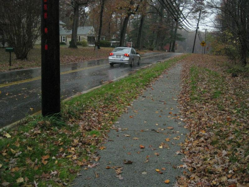 A permeable concrete path in the fall