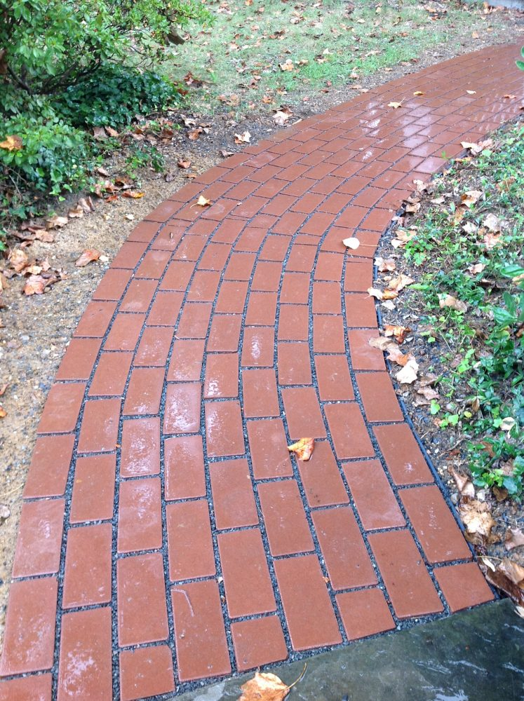 Red brick permeable paver walkway