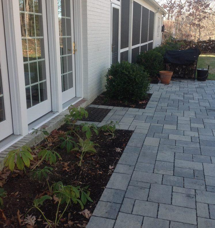 A permeable paver backyard terrace