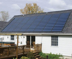 Photo of thin-film solar on a residential roof.
