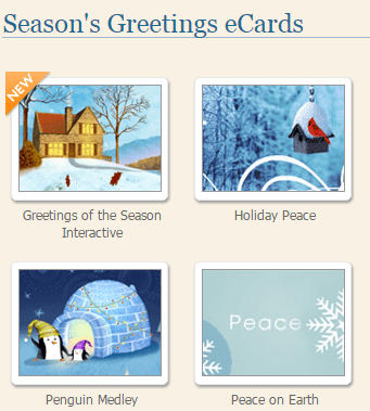 E-card season's greetings examples