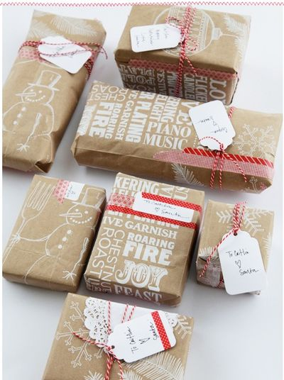 Gifts wrapped using Trader Joe's bags