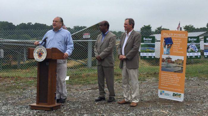 County leaders at the Correctional Facility solar panel unveiling