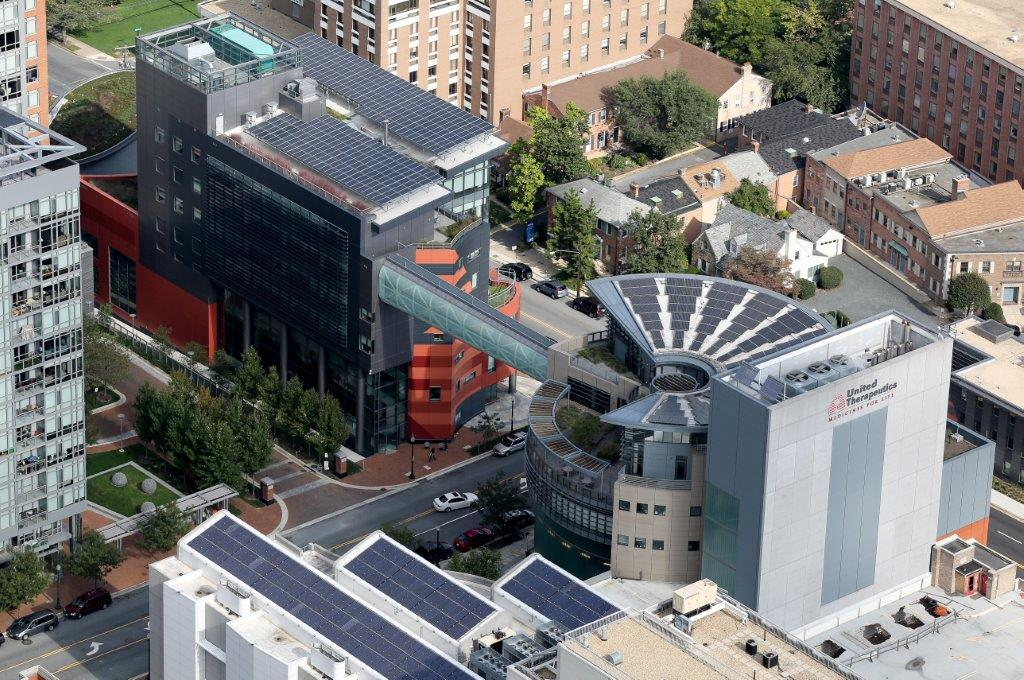 Aerial of the United Therapeutics solar panels by DC Air Photos