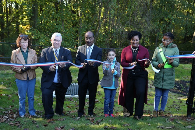 Ribbon cutting on the new bioretention project