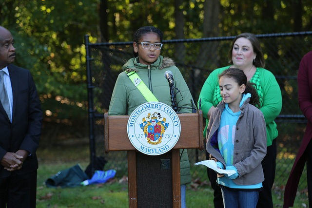 Student from Strathmore Elementary School speaking at an event