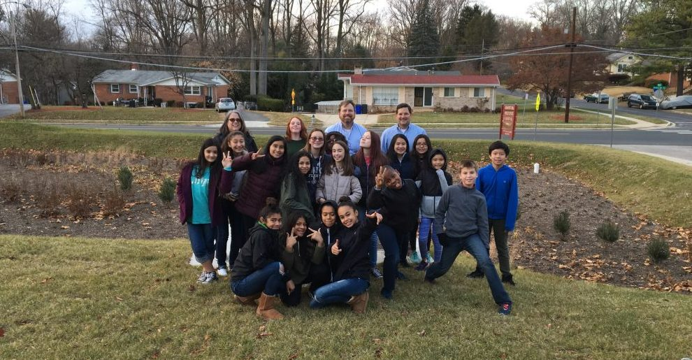 MCPS Bioretention Garden with students
