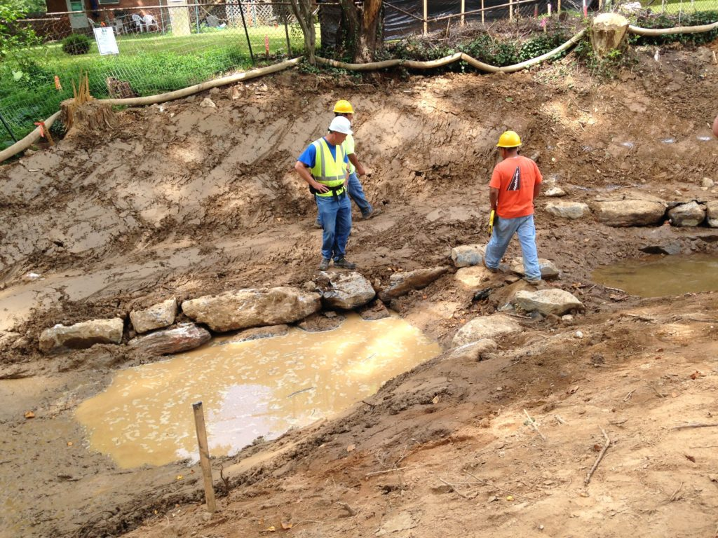 During construction of the stream