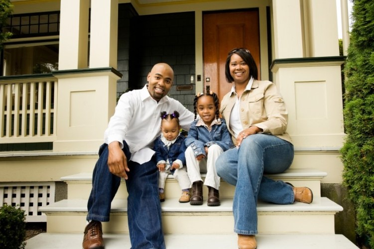 iStock Photo of Family at their new house