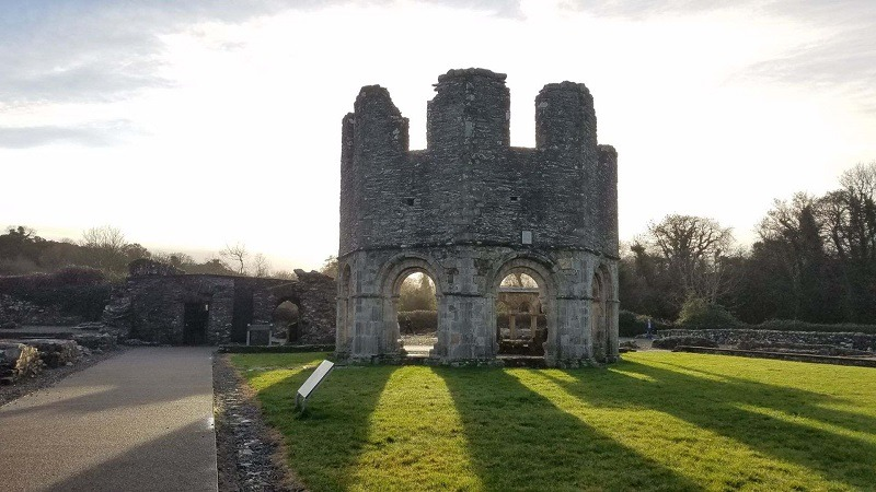 Green grass in January at historic Mellifont Abbey in Ireland
