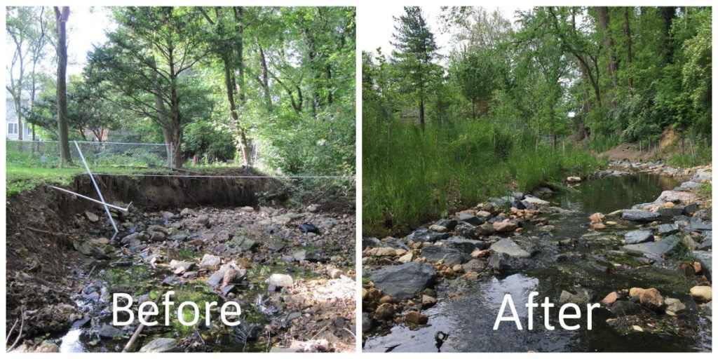 Before and after images showing the gradation of stream banks to prevent erosion